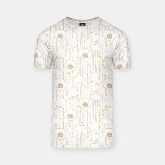 Miniatur Poppies Field, Floral Handmade Pattern, White and Gold Texture T-shirt, Live Heroes