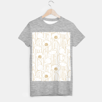Miniatur Poppies Field, Floral Handmade Pattern, White and Gold Texture T-shirt regular, Live Heroes