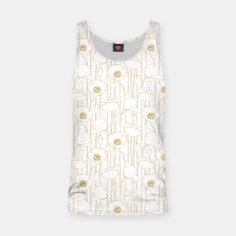 Miniatur Poppies Field, Floral Handmade Pattern, White and Gold Texture Tank Top, Live Heroes