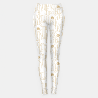 Thumbnail image of Poppies Field, Floral Handmade Pattern, White and Gold Texture Leggings, Live Heroes