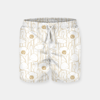 Miniatur Poppies Field, Floral Handmade Pattern, White and Gold Texture Swim Shorts, Live Heroes
