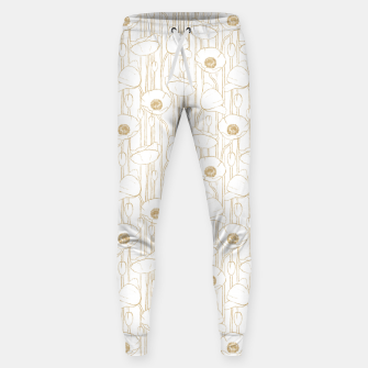 Miniatur Poppies Field, Floral Handmade Pattern, White and Gold Texture Sweatpants, Live Heroes