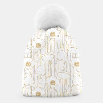 Miniatur Poppies Field, Floral Handmade Pattern, White and Gold Texture Beanie, Live Heroes