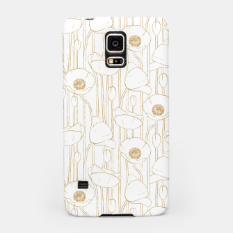 Miniatur Poppies Field, Floral Handmade Pattern, White and Gold Texture Samsung Case, Live Heroes