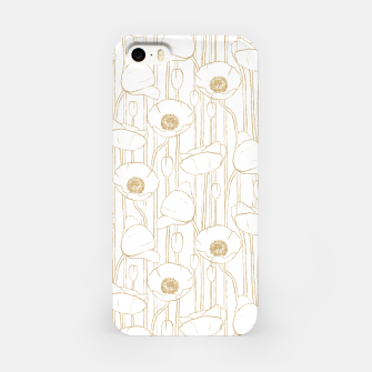 Miniatur Poppies Field, Floral Handmade Pattern, White and Gold Texture iPhone Case, Live Heroes