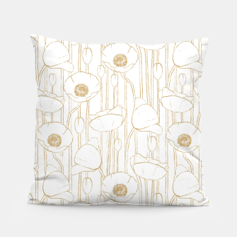 Miniatur Poppies Field, Floral Handmade Pattern, White and Gold Texture Pillow, Live Heroes