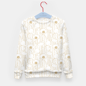 Miniatur Poppies Field, Floral Handmade Pattern, White and Gold Texture Kid's sweater, Live Heroes