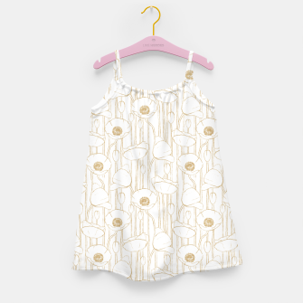 Miniatur Poppies Field, Floral Handmade Pattern, White and Gold Texture Girl's dress, Live Heroes