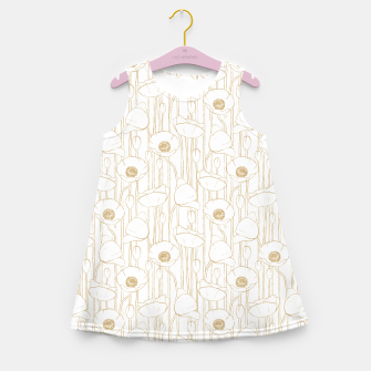 Miniatur Poppies Field, Floral Handmade Pattern, White and Gold Texture Girl's summer dress, Live Heroes