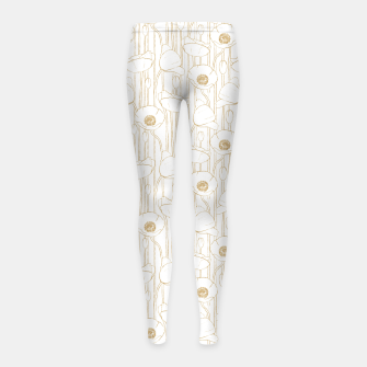 Miniatur Poppies Field, Floral Handmade Pattern, White and Gold Texture Girl's leggings, Live Heroes