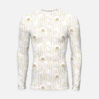 Miniatur Poppies Field, Floral Handmade Pattern, White and Gold Texture Longsleeve rashguard , Live Heroes