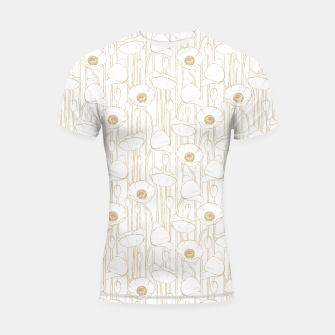 Miniatur Poppies Field, Floral Handmade Pattern, White and Gold Texture Shortsleeve rashguard, Live Heroes