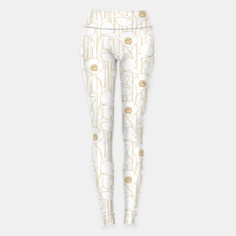 Miniatur Poppies Field, Floral Handmade Pattern, White and Gold Texture Leggings, Live Heroes