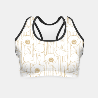 Miniatur Poppies Field, Floral Handmade Pattern, White and Gold Texture Crop Top, Live Heroes
