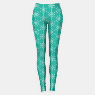 Thumbnail image of Snowflakes and Flowers, Geometric Watercolor Hand-Painted Pattern in Mint Green Leggings, Live Heroes