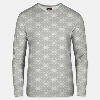 Geometric Watercolor Snowflakes and Flowers in Grey and White Unisex sweater Bild der Miniatur