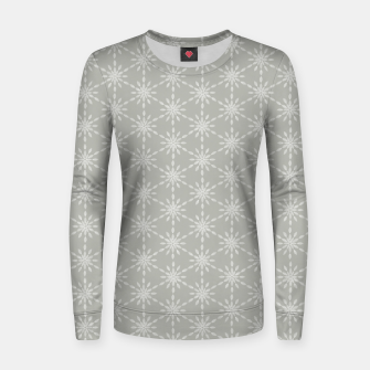 Geometric Watercolor Snowflakes and Flowers in Grey and White Women sweater Bild der Miniatur