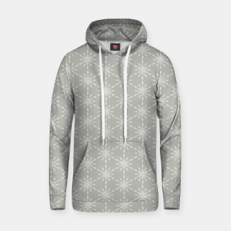 Geometric Watercolor Snowflakes and Flowers in Grey and White Hoodie Bild der Miniatur
