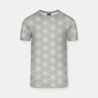Geometric Watercolor Snowflakes and Flowers in Grey and White T-shirt Bild der Miniatur