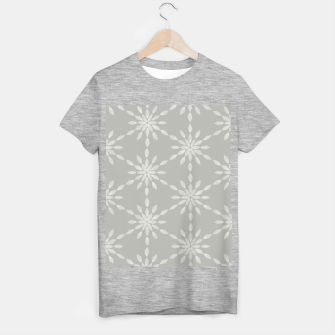 Geometric Watercolor Snowflakes and Flowers in Grey and White T-shirt regular Bild der Miniatur