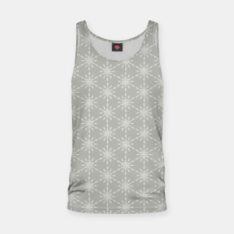 Geometric Watercolor Snowflakes and Flowers in Grey and White Tank Top Bild der Miniatur