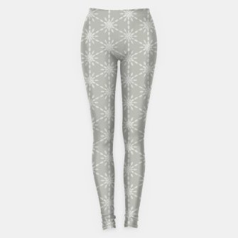 Thumbnail image of Geometric Watercolor Snowflakes and Flowers in Grey and White Leggings, Live Heroes