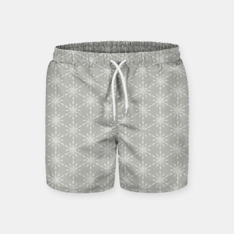 Geometric Watercolor Snowflakes and Flowers in Grey and White Swim Shorts Bild der Miniatur