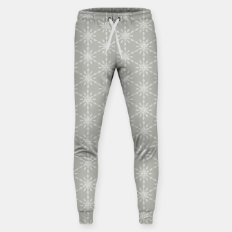 Geometric Watercolor Snowflakes and Flowers in Grey and White Sweatpants Bild der Miniatur
