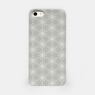 Geometric Watercolor Snowflakes and Flowers in Grey and White iPhone Case Bild der Miniatur