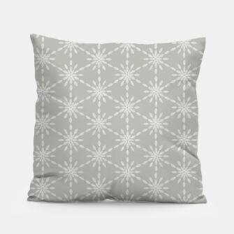 Miniaturka Geometric Watercolor Snowflakes and Flowers in Grey and White Pillow, Live Heroes