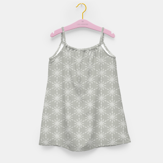 Miniaturka Geometric Watercolor Snowflakes and Flowers in Grey and White Girl's dress, Live Heroes