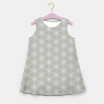 Miniaturka Geometric Watercolor Snowflakes and Flowers in Grey and White Girl's summer dress, Live Heroes