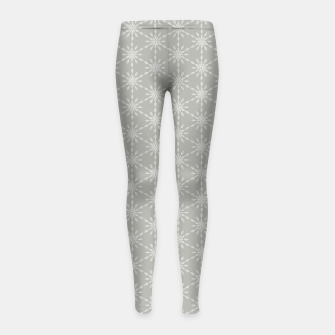Miniaturka Geometric Watercolor Snowflakes and Flowers in Grey and White Girl's leggings, Live Heroes