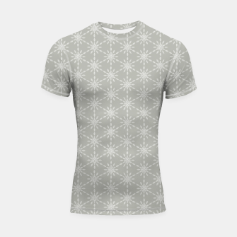Miniaturka Geometric Watercolor Snowflakes and Flowers in Grey and White Shortsleeve rashguard, Live Heroes