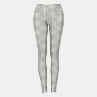 Miniaturka Geometric Watercolor Snowflakes and Flowers in Grey and White Leggings, Live Heroes