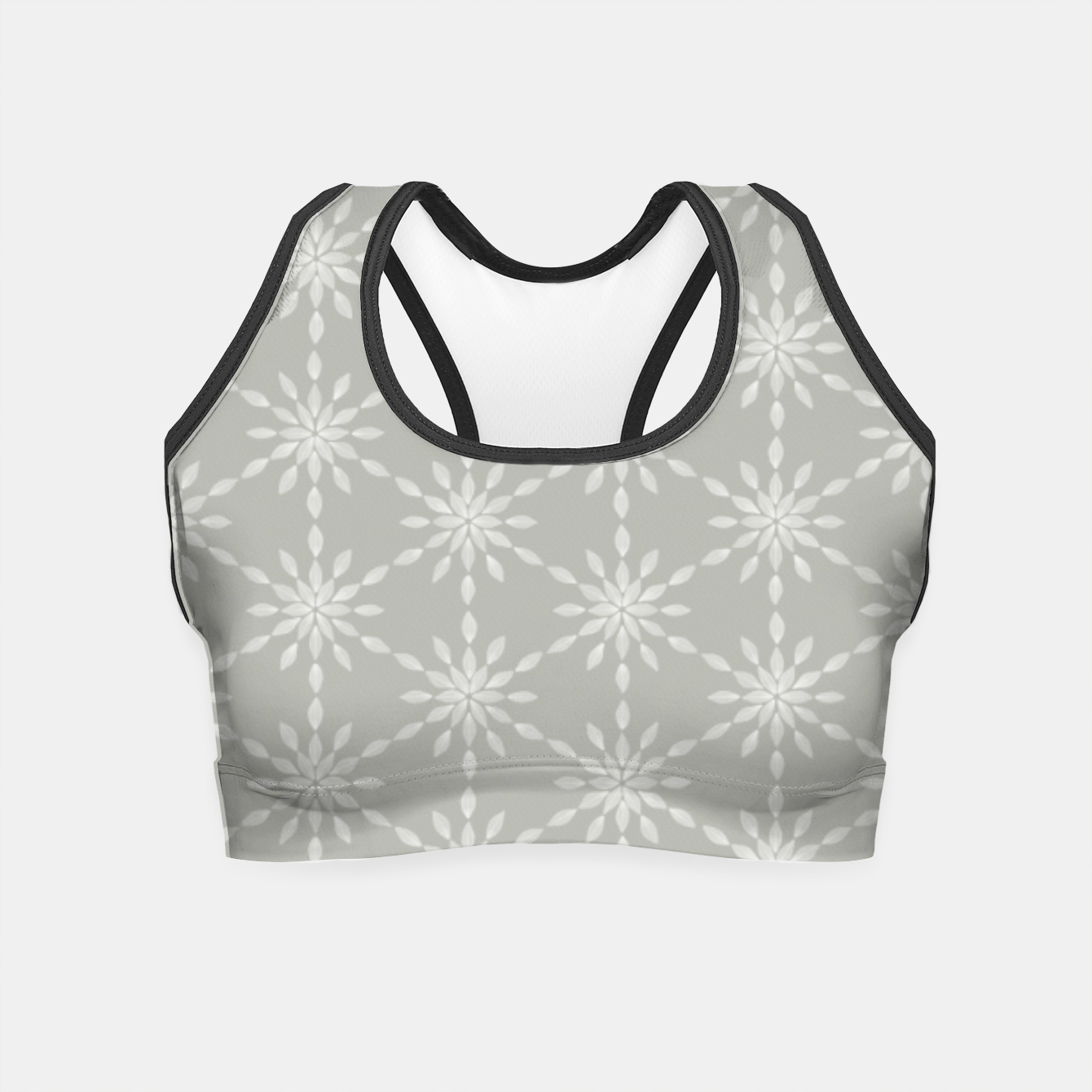 Foto Geometric Watercolor Snowflakes and Flowers in Grey and White Crop Top - Live Heroes