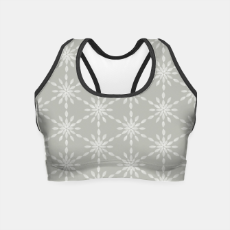 Miniaturka Geometric Watercolor Snowflakes and Flowers in Grey and White Crop Top, Live Heroes