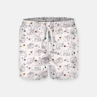 Miniaturka Lovely furballs of happiness in continuous line Swim Shorts, Live Heroes
