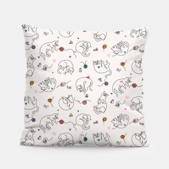 Miniaturka Lovely furballs of happiness in continuous line Pillow, Live Heroes