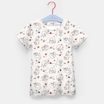 Miniaturka Lovely furballs of happiness in continuous line Kid's t-shirt, Live Heroes