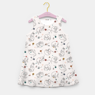 Miniaturka Lovely furballs of happiness in continuous line Girl's summer dress, Live Heroes