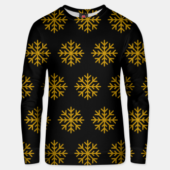 Imagen en miniatura de Golden Snowflakes Winter Christmas Holiday Xmas December Art Unisex sweater, Live Heroes