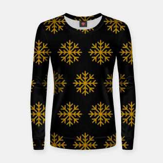 Imagen en miniatura de Golden Snowflakes Winter Christmas Holiday Xmas December Art Women sweater, Live Heroes