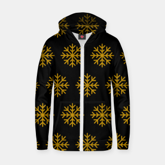 Imagen en miniatura de Golden Snowflakes Winter Christmas Holiday Xmas December Art Zip up hoodie, Live Heroes