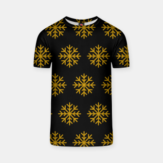 Imagen en miniatura de Golden Snowflakes Winter Christmas Holiday Xmas December Art T-shirt, Live Heroes