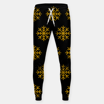 Imagen en miniatura de Golden Snowflakes Winter Christmas Holiday Xmas December Art Sweatpants, Live Heroes