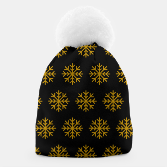 Imagen en miniatura de Golden Snowflakes Winter Christmas Holiday Xmas December Art Beanie, Live Heroes