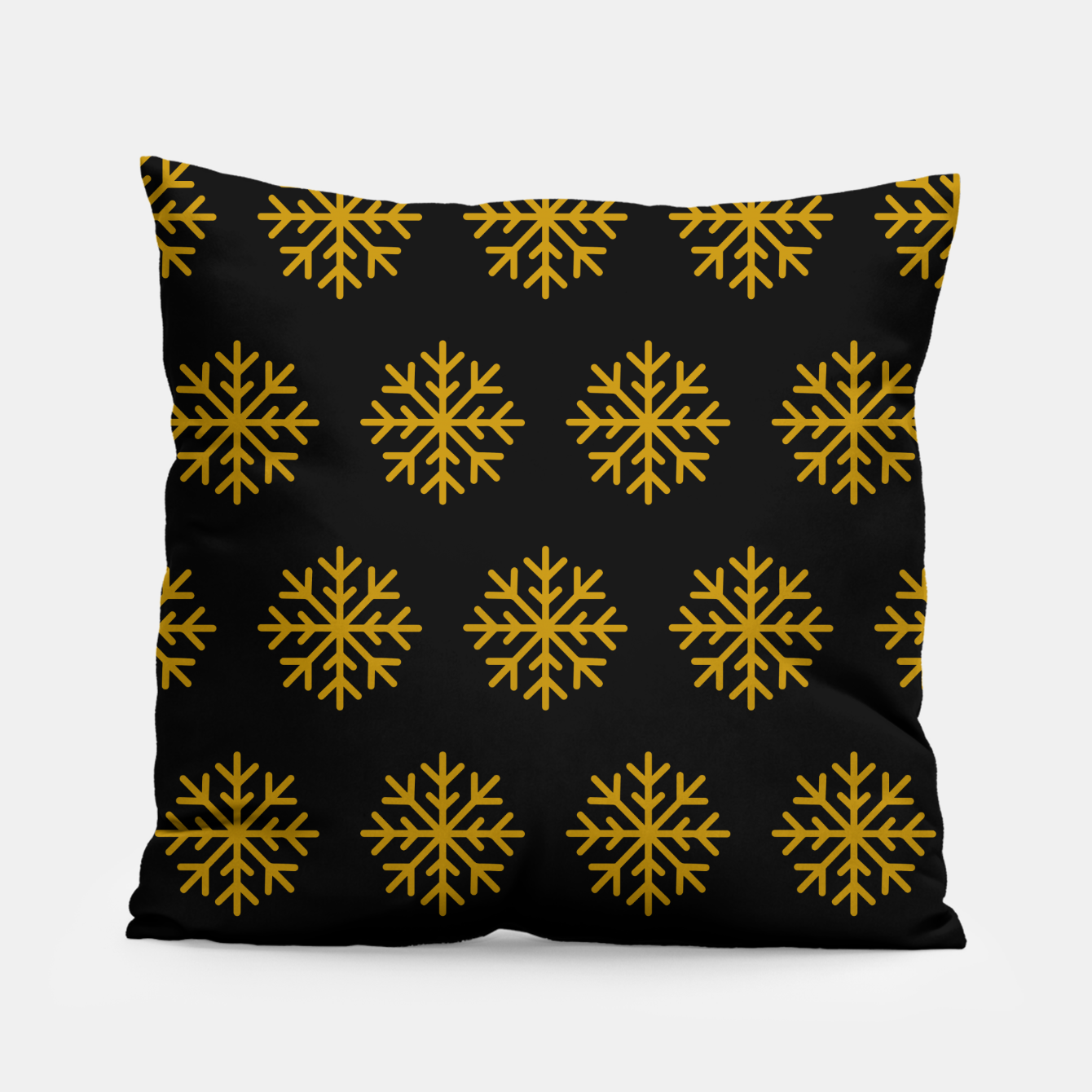 Image of Golden Snowflakes Winter Christmas Holiday Xmas December Art Pillow - Live Heroes