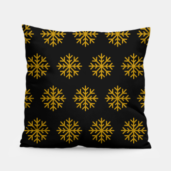 Imagen en miniatura de Golden Snowflakes Winter Christmas Holiday Xmas December Art Pillow, Live Heroes