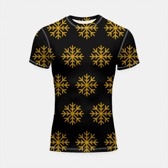 Imagen en miniatura de Golden Snowflakes Winter Christmas Holiday Xmas December Art Shortsleeve rashguard, Live Heroes